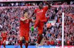 Benteke celebrates a crucial goal