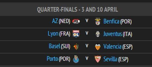Europa League, 1/4 Draw