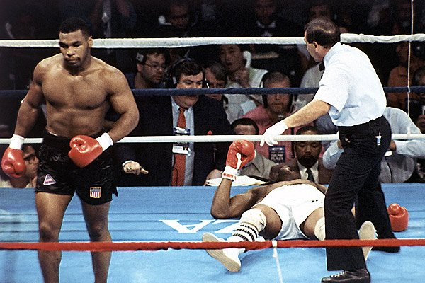 Michael Spinks Lays Flat Out On His Back Against Mike Tyson