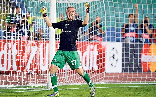 Defender Cosmin Moti celebrates Ludogorets' penalty shoot-out victory over Bucharest