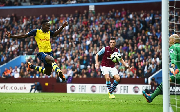 FIRST OF MANY: Welbeck scores his first goal for Arsenal following his £16m move from Manchester United