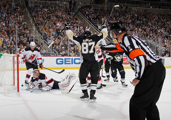 Pittsburgh Captain #87 Sidney Crosby scored two goals against the New Jersey Devils in a home win on October, 28, 2014 (Photo courtesy of googleeimages, uncredited)