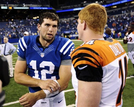 Indianapolis Colts QB Andrew Luck (12) and Cincinnati Bengals QB Andy Dalton