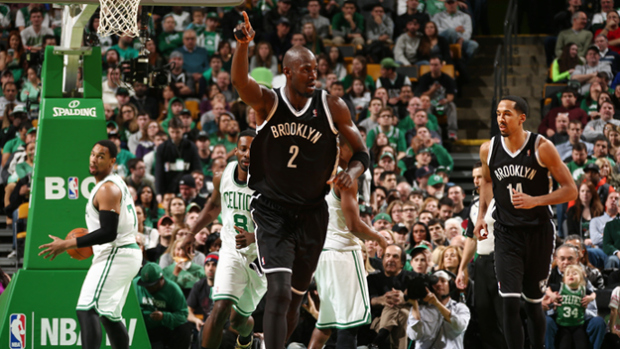 kevin garnett as a net at the TD Garden