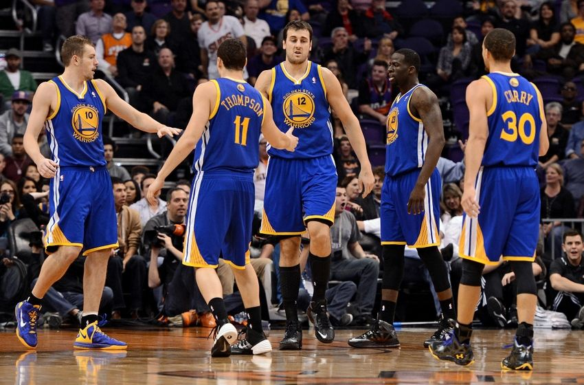 andrew bogut stephen curry david lee klay thompson draymond green nba golden state warriors phoenix suns