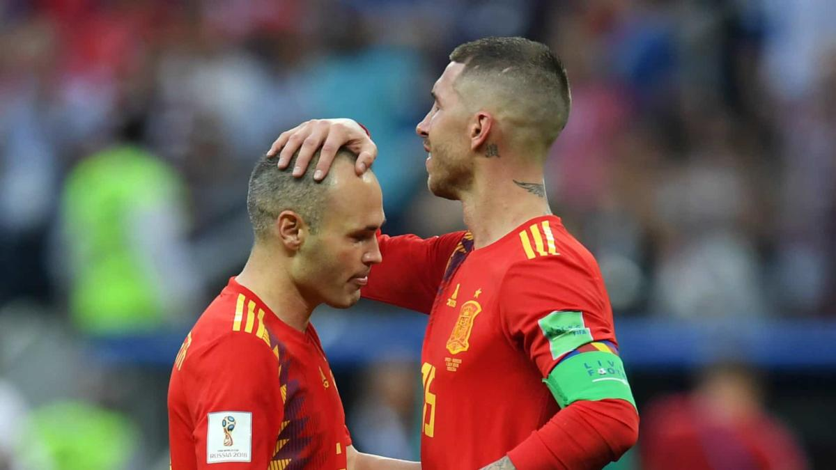 Andres Iniesta with Sergio Ramos