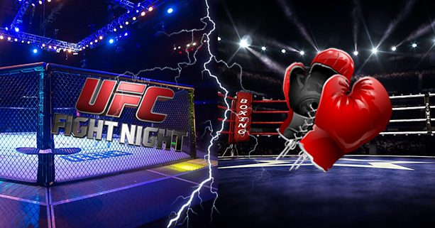 Boxing Ring And Ufc The Octagon Fight Night