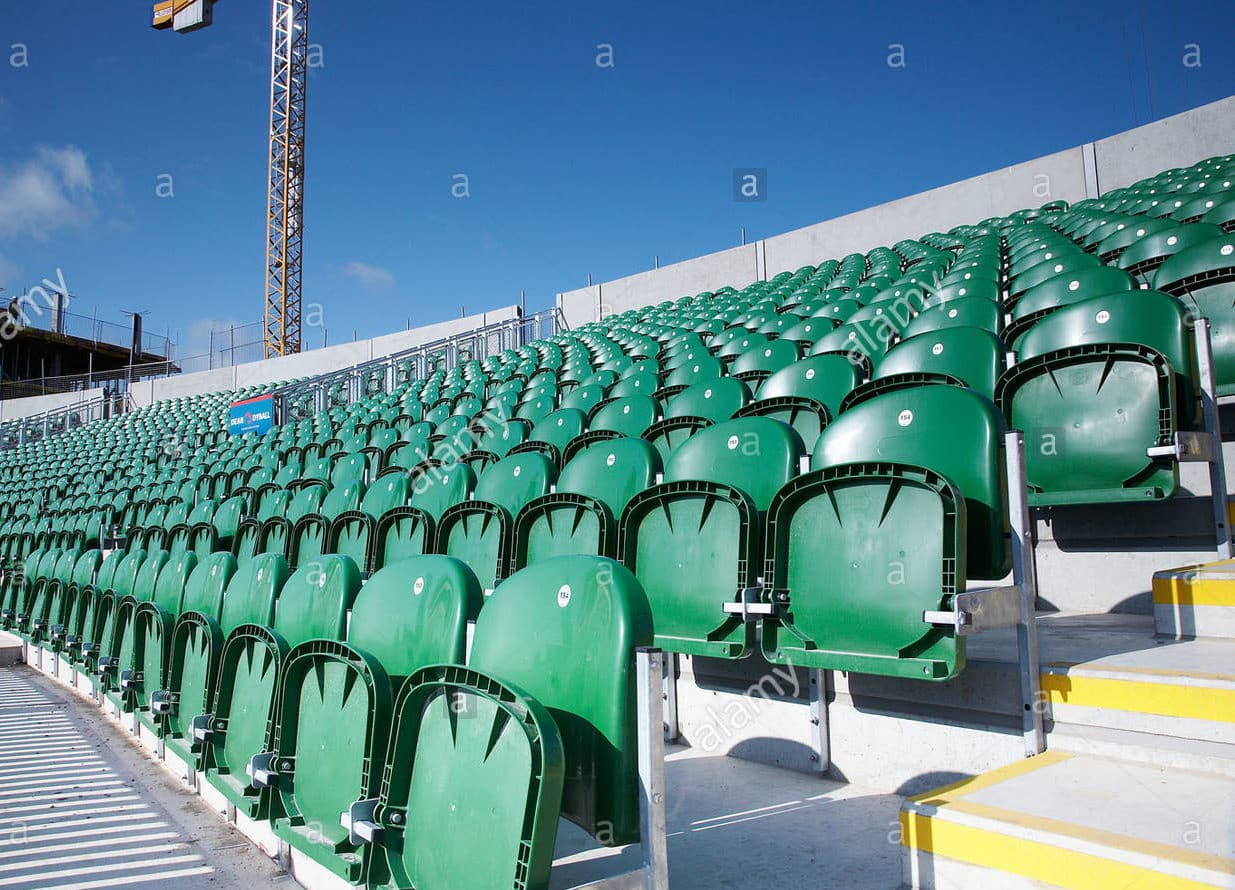 rows of empty seats at somerset cricket club taunton england B8DT17 1 e1591534306404
