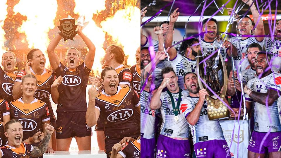 The two NRL Premiership winning teams lift the trophies
