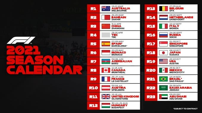 The Provisional Calendar For The Formula One Season Has 23 Races On It