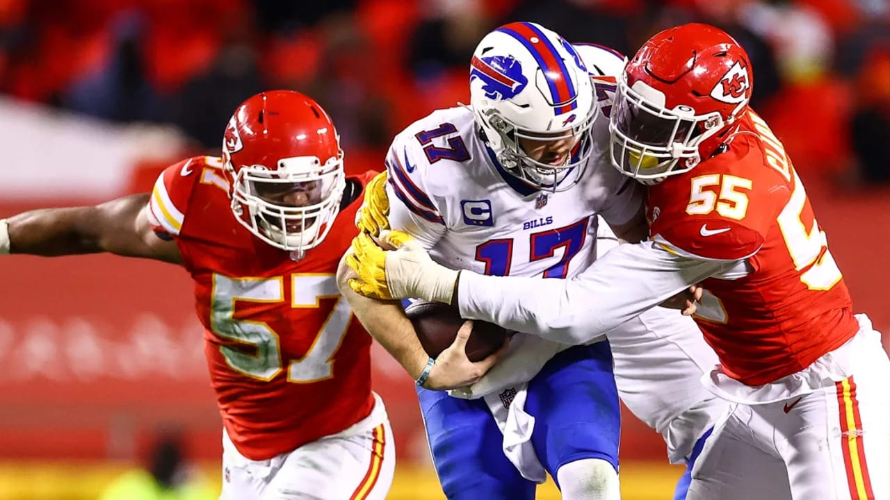 Frank Clark And The Chiefs Defense Sack Josh Allen In Afc Title Game