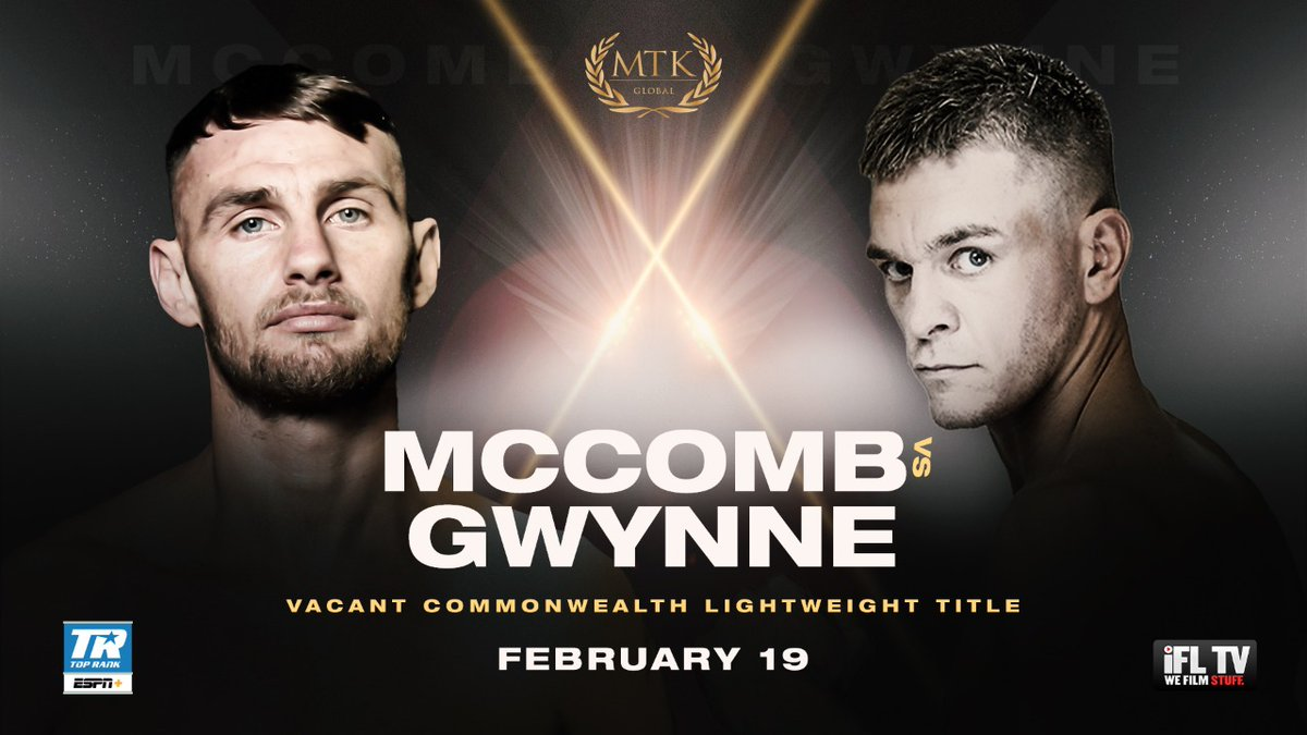 Mccomb Vs Gwynne For The Vacant Commonwealth Lightweight Title Main Event