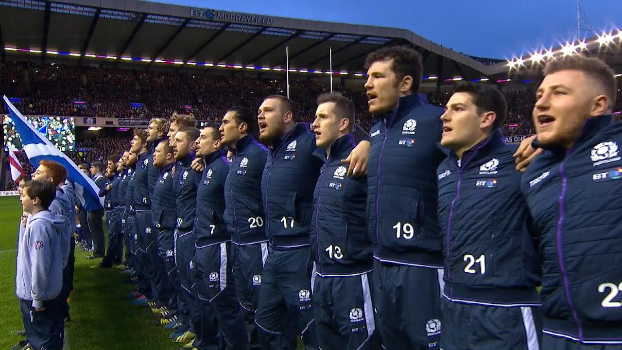 Scotland Rugby Team Singing The National Anthem