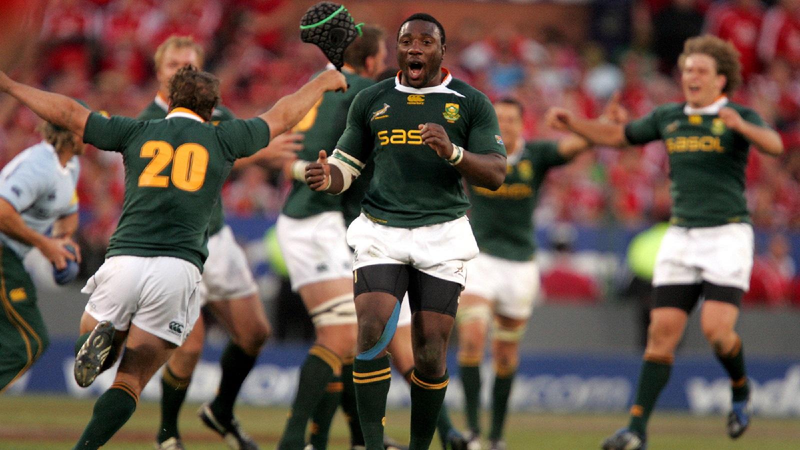 Springboks Celebrate Beating The British And Irish Lions In 2009