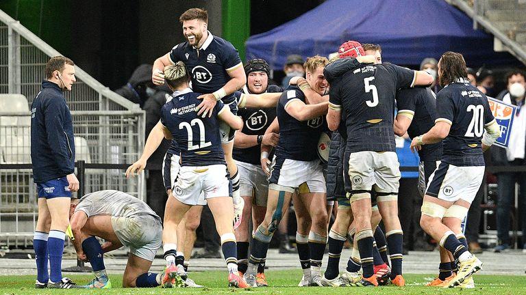 Scotland Celebrate A Six Nations Tournament Try