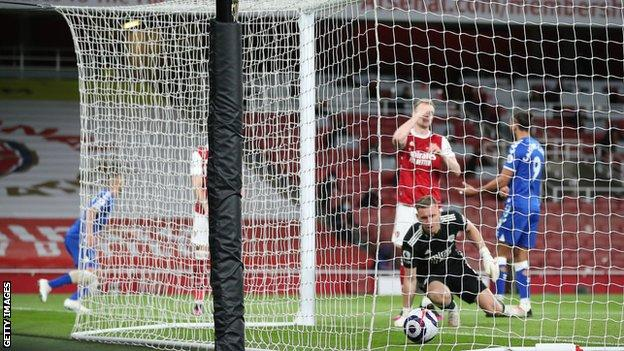 Leno Looks On In Despair As He Lets The Ball Through Into His Own Net.
