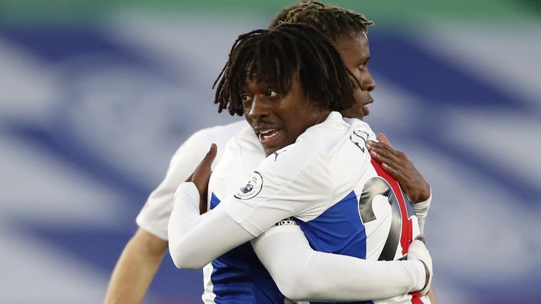 Zaha And Eze Embrace After Scoring The Game'S Opener.