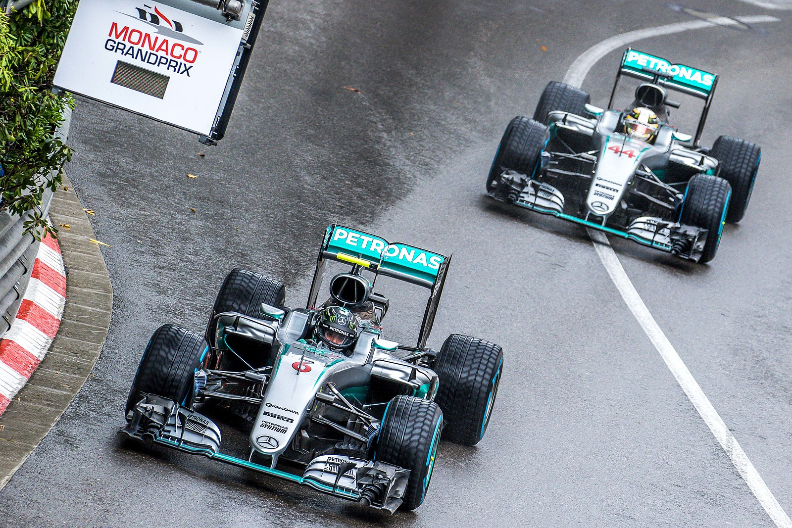 Two Mercedes Race Each Other Around Monaco