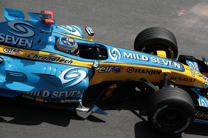 Fernando Alonso Driving His Renault At The Monaco Gp In 2006