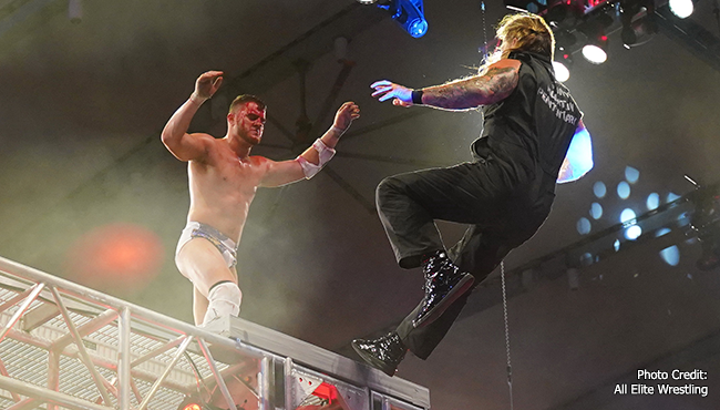 MJF throws Chris Jericho off the cage at AEW Blood and Guts