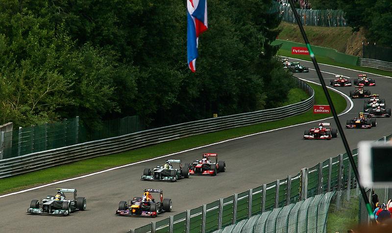Sebastian Vettel takes the lead at the 2013 Belgian Grand Prix