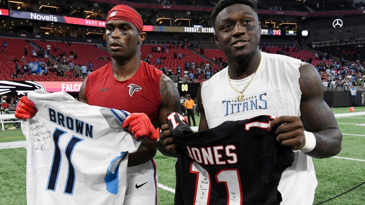 AJ Brown and Julio Jones jersey swap