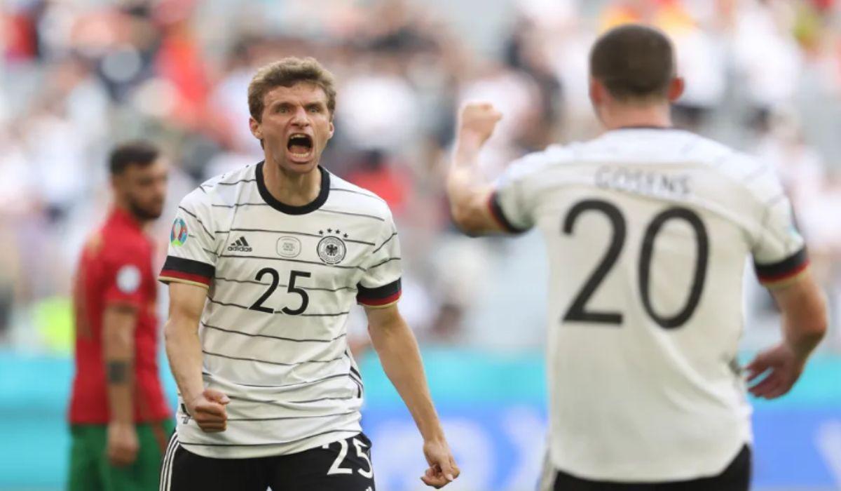 Germanys Thomas Muller celebrates his goal against Portugal