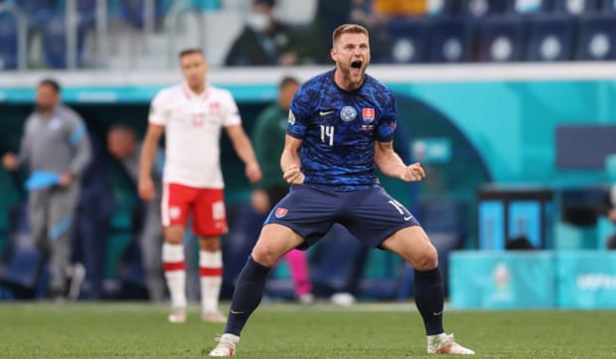 Milan Skriniar Celebrates An Important Win For Slovakia Against Poland