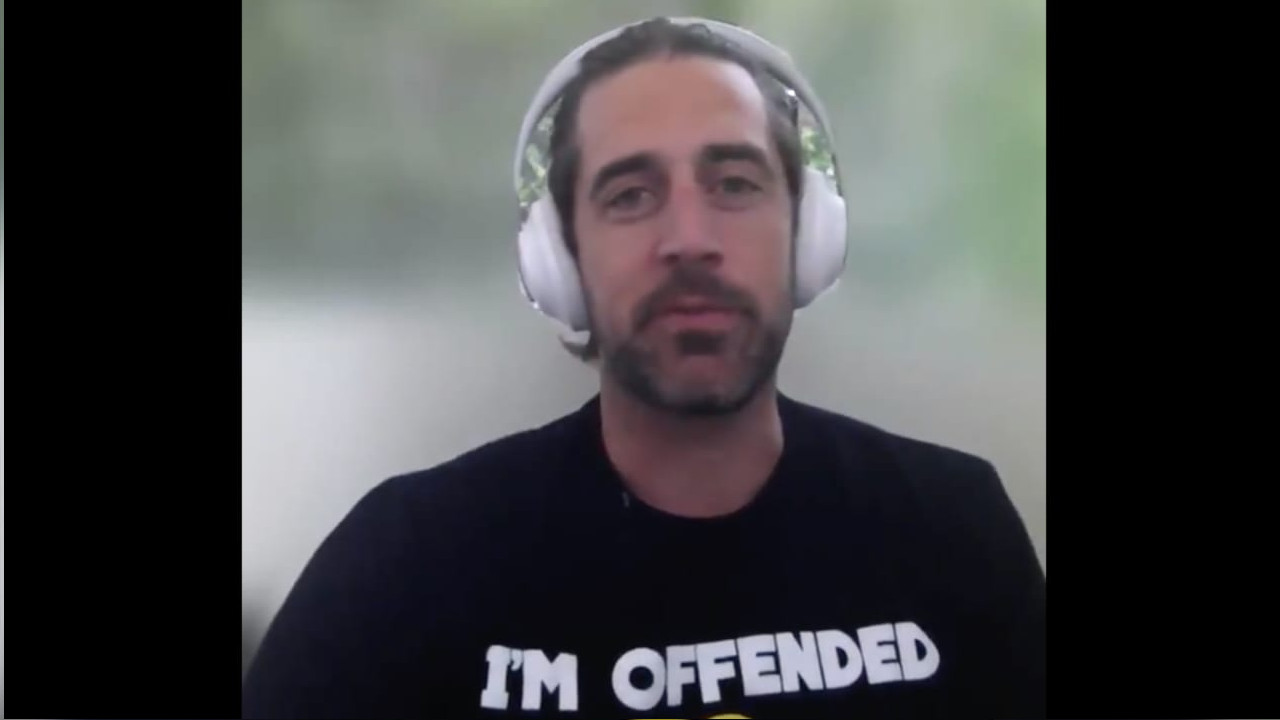 Rodgers rocking his Im Offended T Shirt