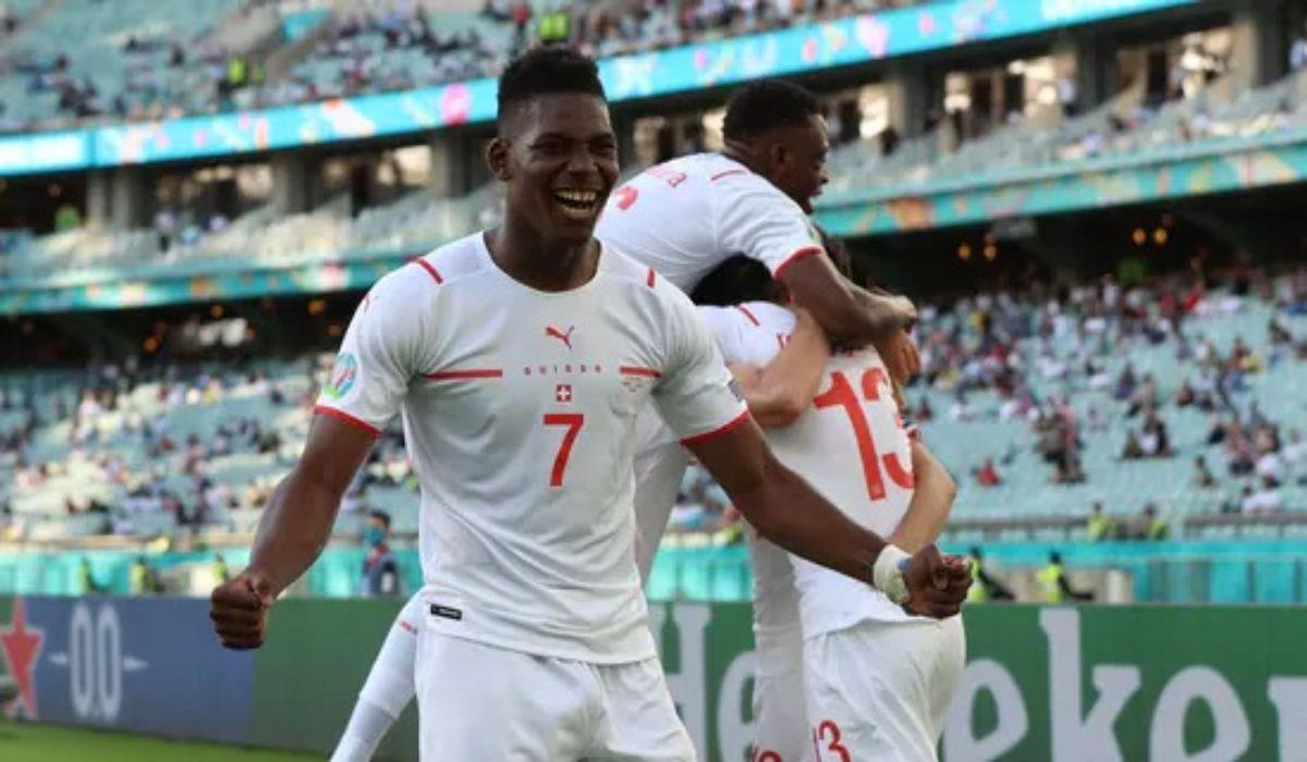 Switzerlands Breel Embolo Celebrates After Scoring The Goal