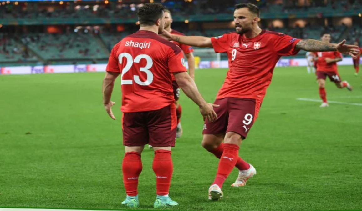 Xherdan Shaqiri celebrating his goal against Turkey