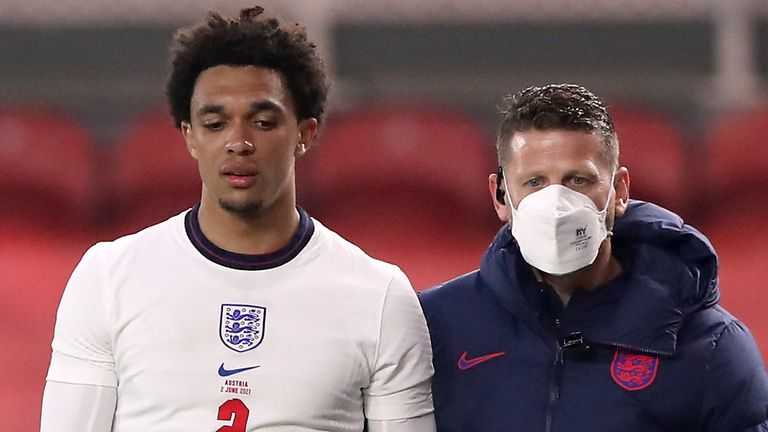 Trent Arnold Limping Off In England'S 1-0 Victory Over Austria