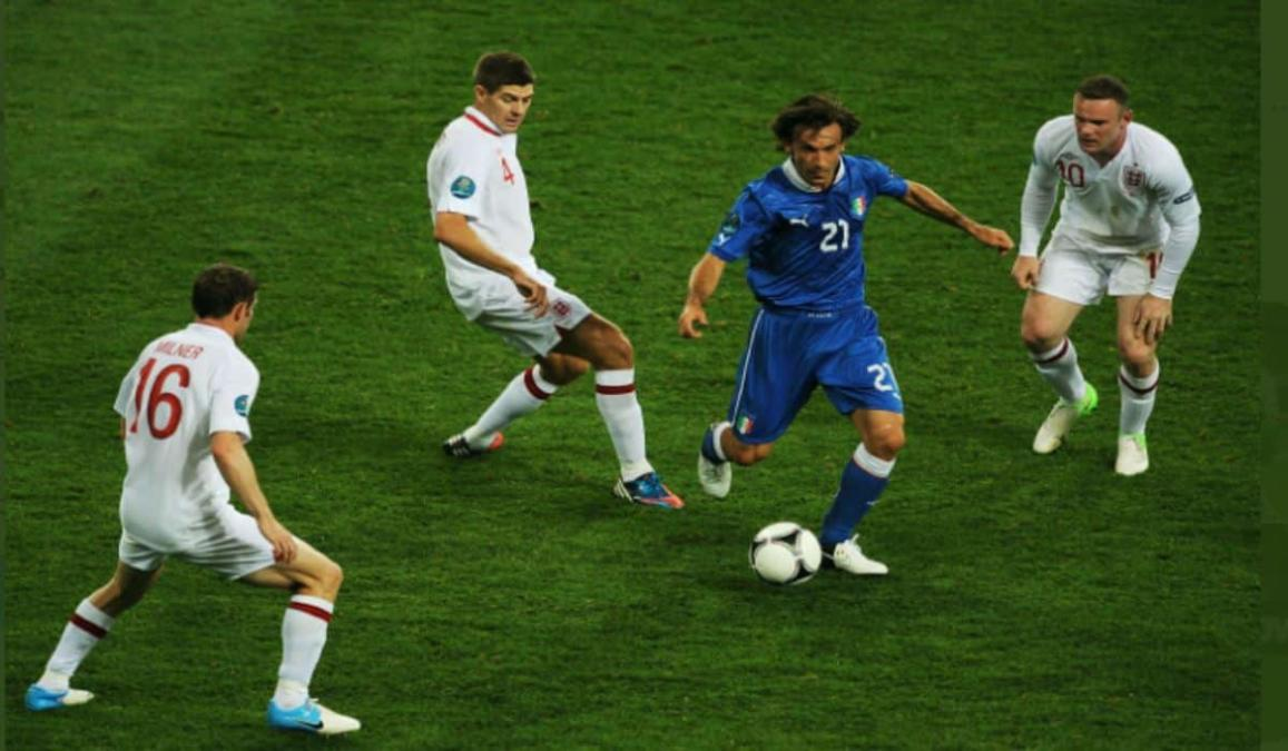 Pirlo Dominating Midfield In The Euro 2012 Quaterfinal