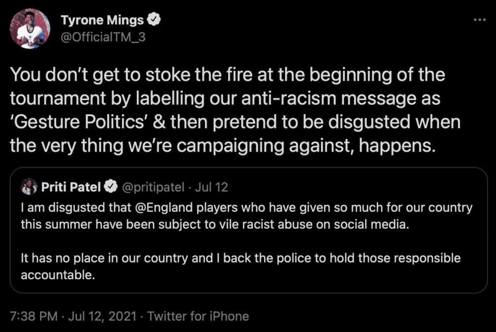 Tyrone Mings Responds To Priti Patel Statement