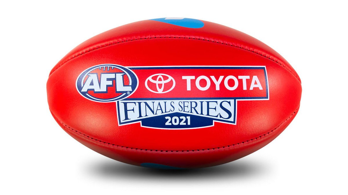 A photo of the official Sherrin for the AFL 2021 Finals Series.