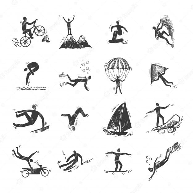 extreme sports icons sketch diving climbing sailing isolated doodle vector illustration 1284 2530 olympics