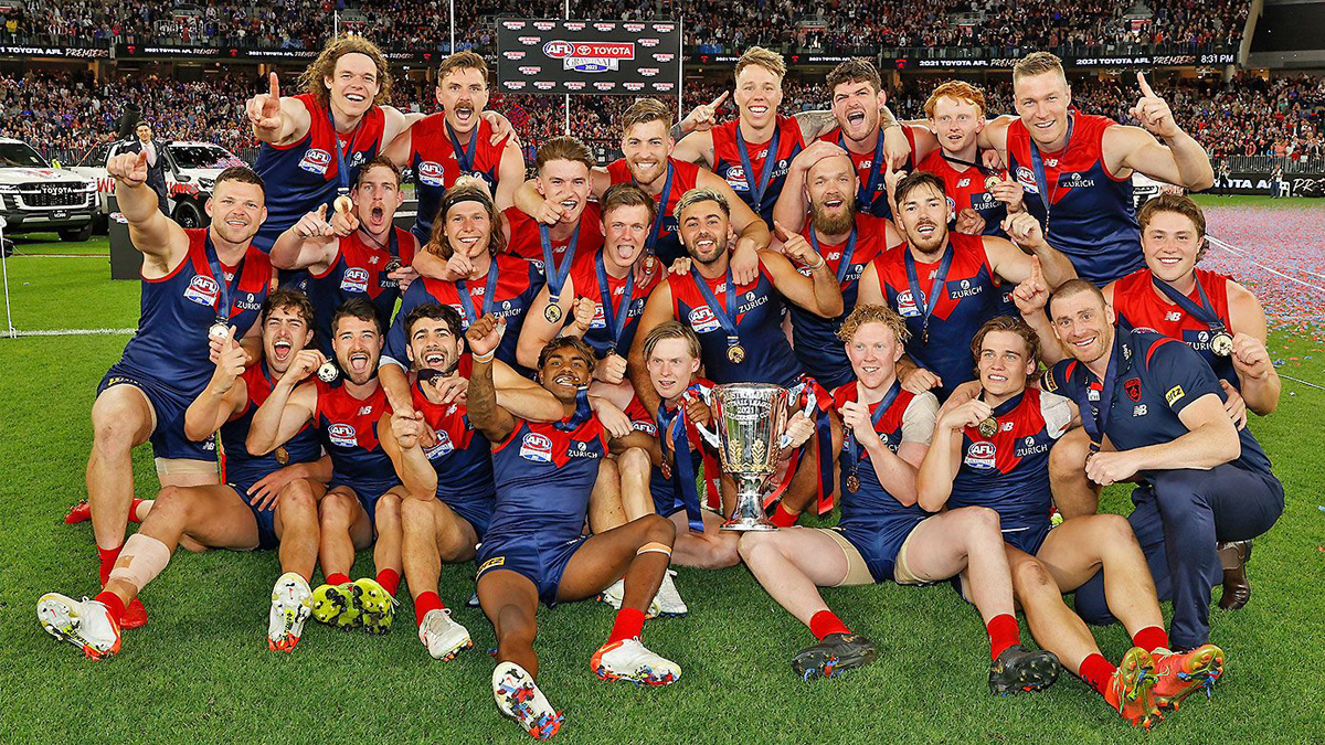 Melbourne Players Celebrating Have Won The Afl 2021 Premiership