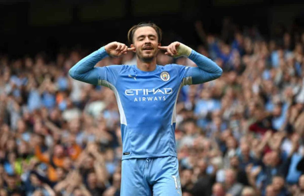 Manchester, England - August 21:  Jack Grealish Of Manchester City Celebrates After Scoring During The Premier League Match Between Manchester City  And  Norwich City At Etihad Stadium On August 21, 2021 In Manchester, England. (Photo By Shaun Botterill/Getty Images )