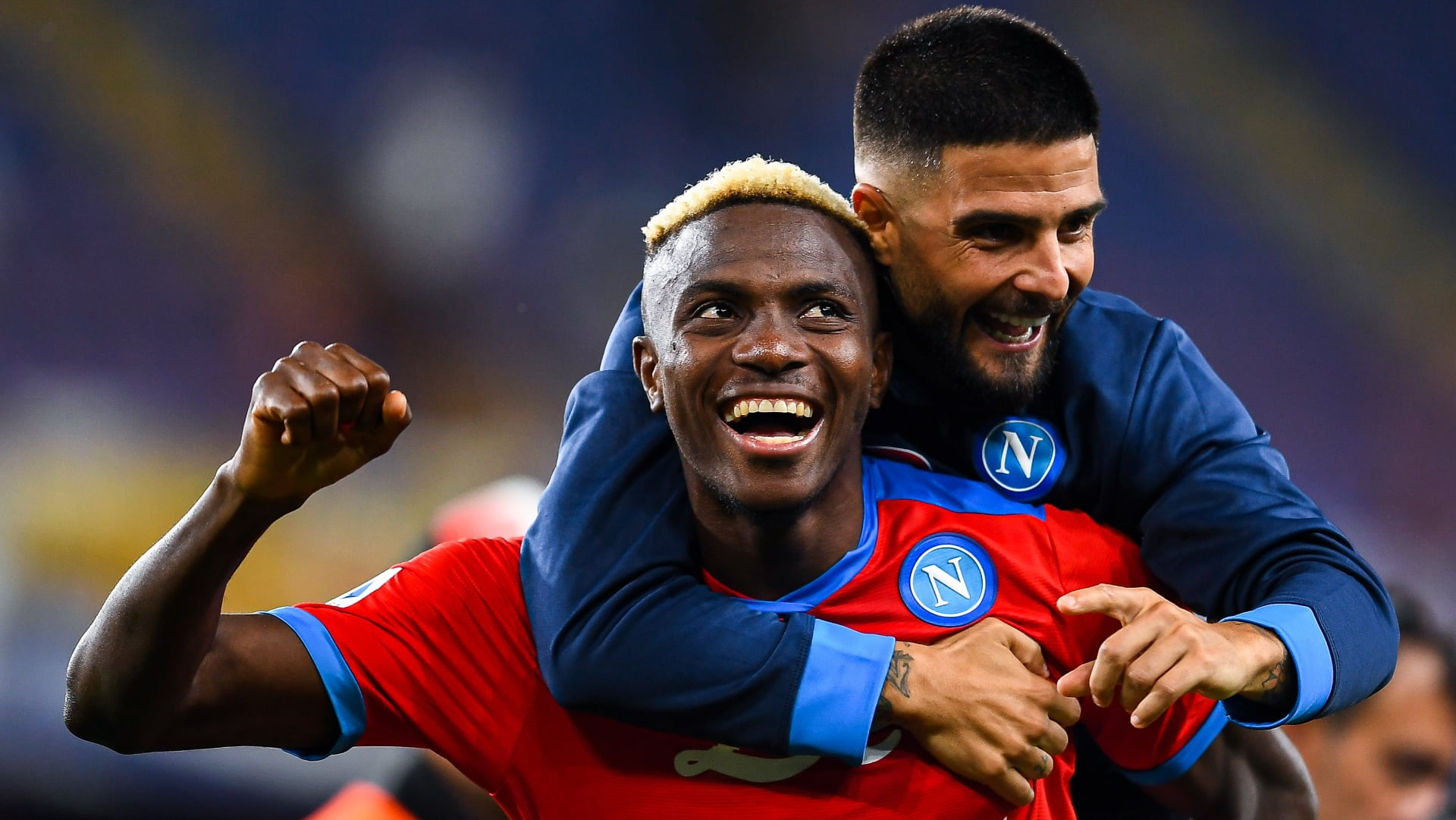 Napoli attackers Victor Osimhen and Lorenzo Insigne celebrate